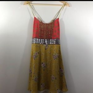 Free people Mixed Media leaf embellished dress
